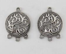 8 CONNECTEURS 3 RANGS en métal couleur platine brillant,perle,fimo,apprêt-co015