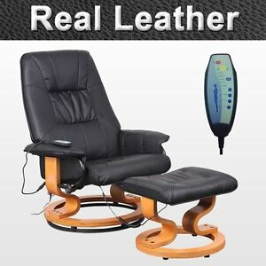 real leather black swivel recliner massage chair w foot stool armchair