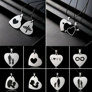 Stainless-Steel-Love-Heart-Cross-Mom-Dad-Son-Daughter-Pendant-Necklace-To-Family