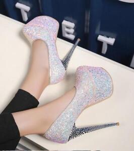 Sexy Schoenen Pailletten Hak Pumps Instappers Stiletto's Superhoge Dames Platform rvZqrw