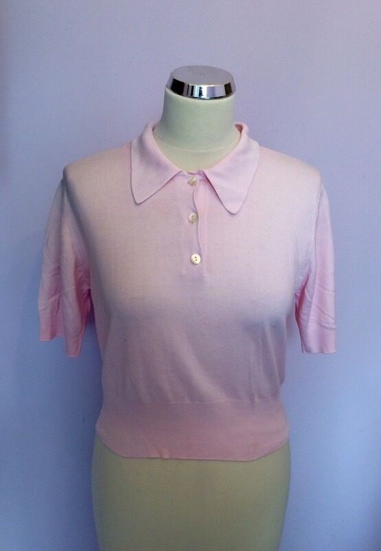 JAEGER LIGHT PINK COTTON SHORT SLEEVE TOP SIZE 34  APPROX S M