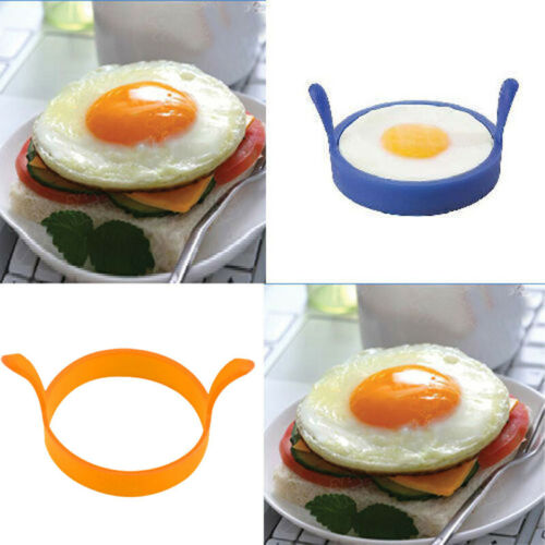 2 X SILICONE EGG FRYING RINGS FRY FRIED POACHER MOULD PERFECT FOR PANCAKES RING
