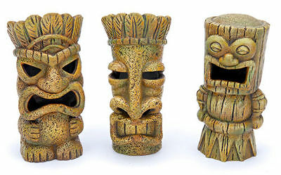 Tiki Aquarium Ornament 4 in. - 3 pk - RRT1A - Penn Plax