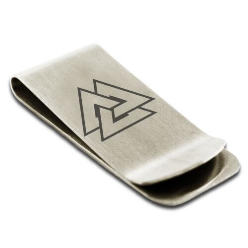 Stainless Steel Norse Valknut Viking Symbol Slim Wallet Cash Card Money Clip