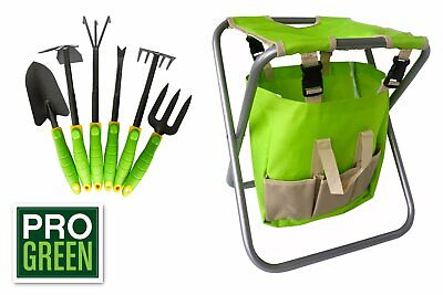 Prime Pro Green 6 Piece Garden Tool Set With Tote And Folding Seat Green New In Box Ebay Uwap Interior Chair Design Uwaporg