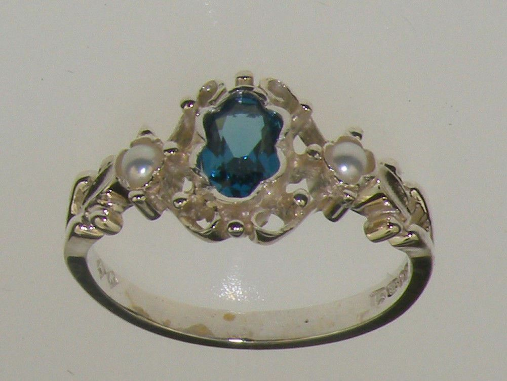 9ct White gold Natural London bluee Topaz & Cultured Pearl Womens Trilogy Ring