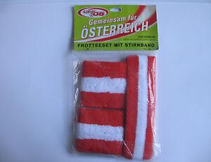 FROTTEESET-mit-Stirnband-rot-weiss-rot-Jogging-Sport-Neu-Schweissband-Fasching-Fan
