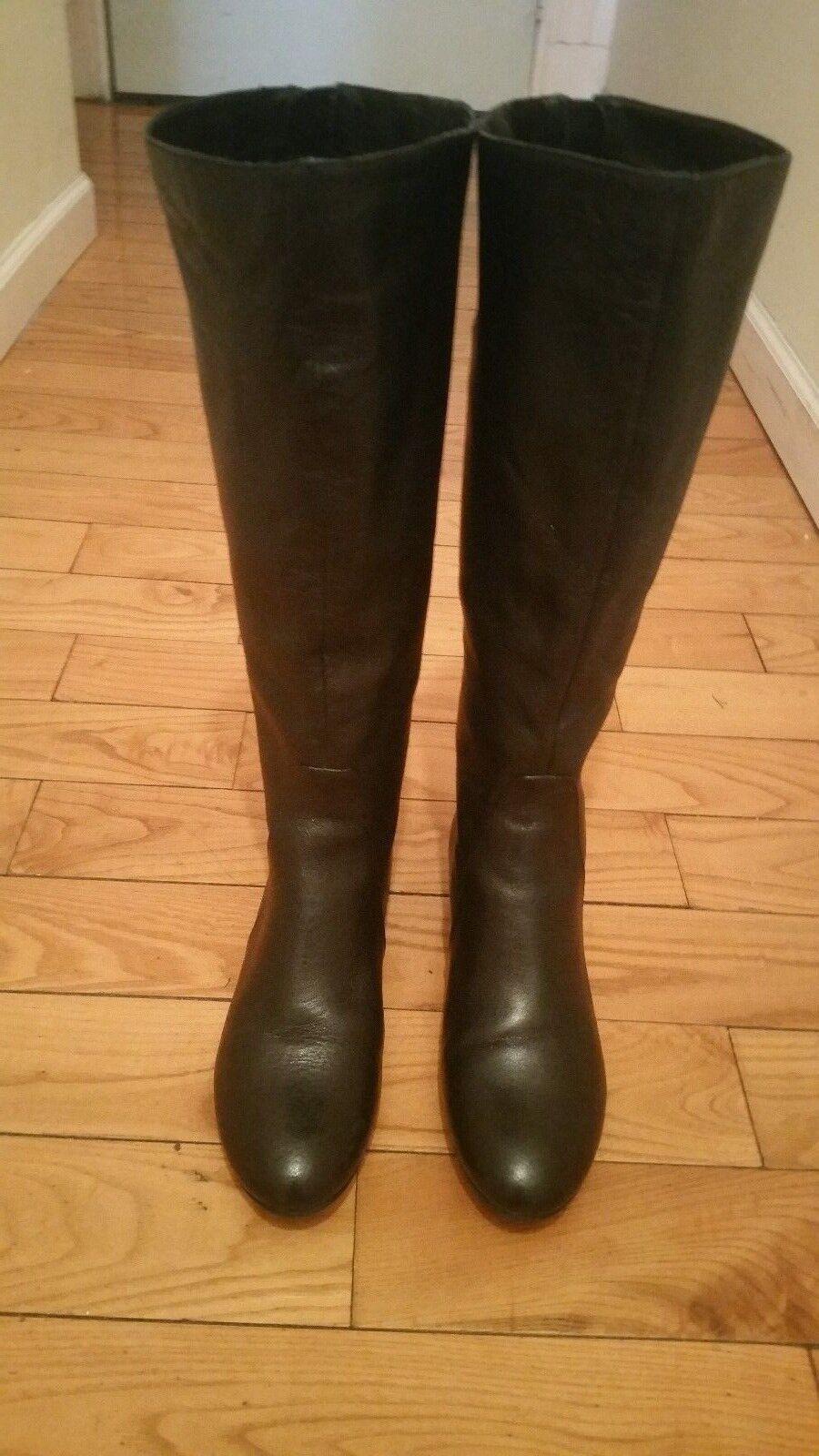 New FERGALICIOUS BY FERGIE Women Leather Tan Zip Knee High Low Boots sz 7 M
