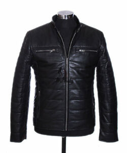 Black Lambskin Soft Real Jacket Men's Bomber Leather Rayland New Puffer Pilot 5ng8qw