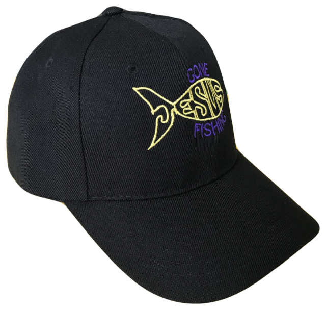 8e7e91c0a28 Black Gone Fishing Jesus Fish Baseball Cap Hat Caps God Christian Purple  Gold