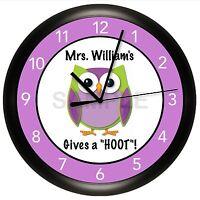 Owl Teacher Wall Clock Personalized Classroom Decor Hoot Purple Students Grade
