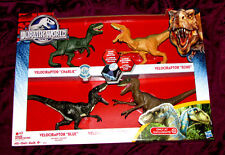NIB Jurassic World RAPTOR 4 PACK~Blue, Charlie, Echo, Delta~LED Light Patterns