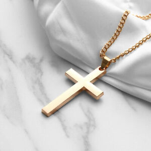 Stainless-Steel-Men-Cross-Pendant-Chain-Link-Jewelry-Gold-Silver-Black-Necklace