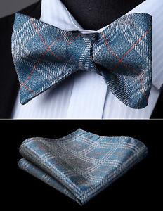 7ad4b841361e Mens Fashion Silk Aqua Plaid & Chcek Self Bow Tie Pocket Square Set ...