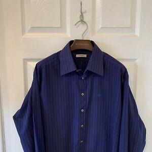 Para-Hombre-Burberry-Manga-Larga-a-Rayas-Camisa-Tamano-Grande-L-Azul-Negro