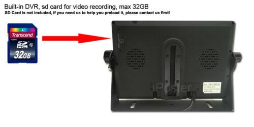 "9/"" QUAD MONITOR DVR 4X CCD CAMERA Reversing side view 4PIN KIT FOR TRUCK BUS VAN"