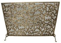 Horchow Tuscany Burnished Gold Iron/tole Acanthus Leaf Fireplace Screen 40.5''l