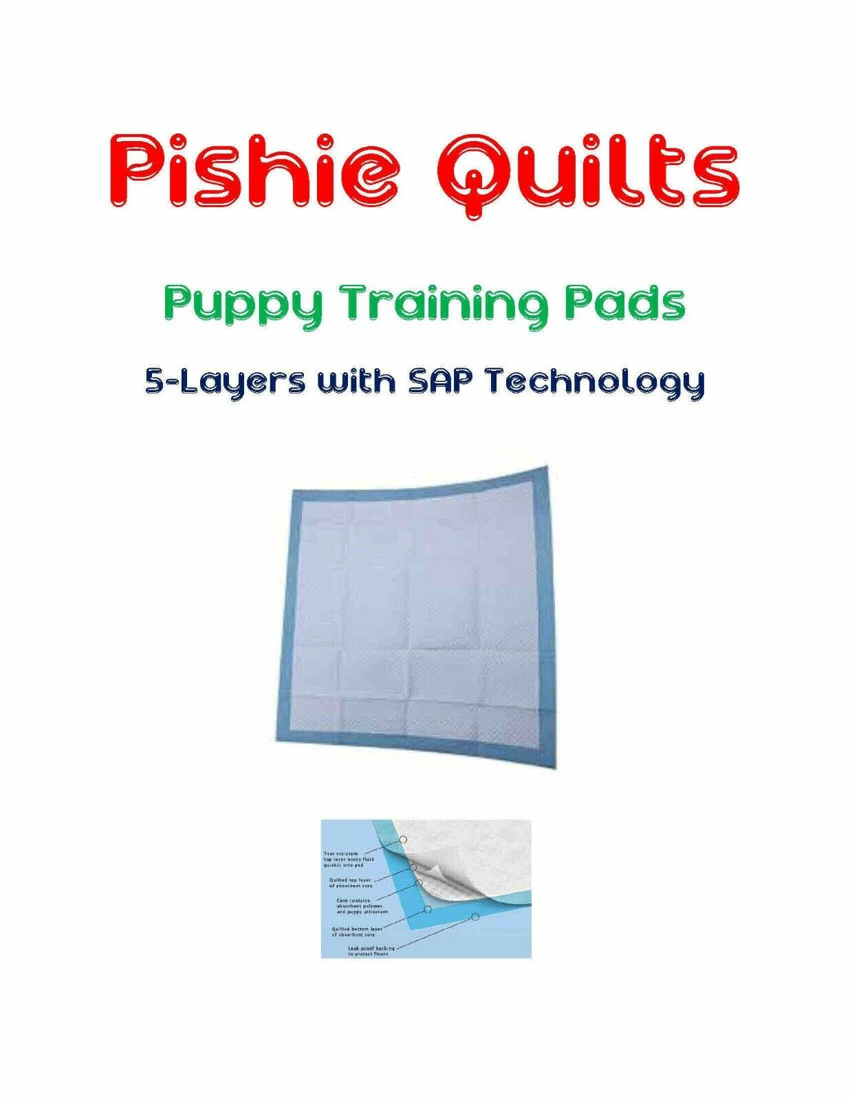 Odor Fighting SUPER ABSORB Puppy Pads 23x36  5-Layer Polymer Long Lasting 8hr