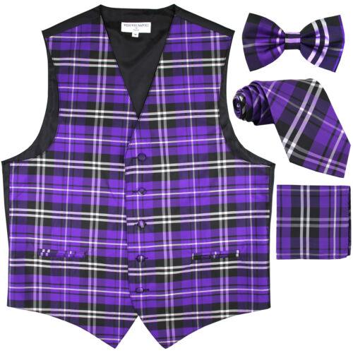 New Men/'s plaid checkers tuxedo Vest Waistcoat /_necktie/_Bow tie/_Hankie Purple