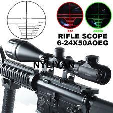 6-24x50 AOEG Rangefinder Red/Green Optical Rifle Scope W/Ring Mounts F Gun Hunt