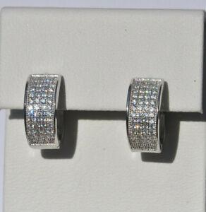 Echt-925-Sterling-Silber-Ohrringe-Creolen-Zirkonia-Hochzeit-Nr-342A