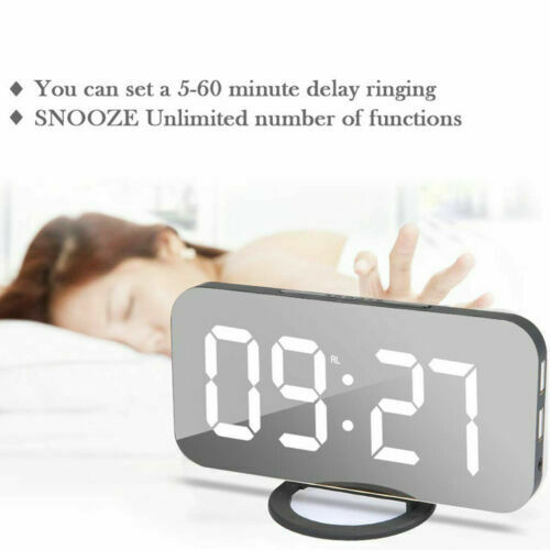 LED Digital Numbers Wall Clock Wanduhr Wanduhren Alarm Snooze Clock Uhr Weiß DE