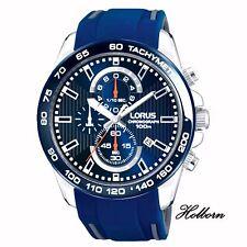 Lorus Gents Watch Blue Dial, Chronograph Silicone Strap RM389CX9. 2 Yr Warranty.