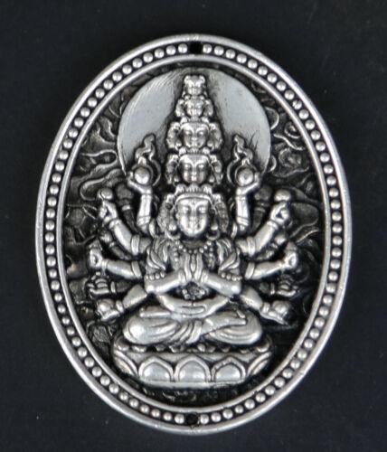 """2.6/"""" Tibet Buddhism Miao Silver 18 Arms Maha Cundi Kwan-yin Bodhisattva Pendant"""