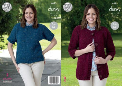King Cole Ladies Knitting Pattern Easy Knit Dolman Jacket Top Tweed Chunky 4425