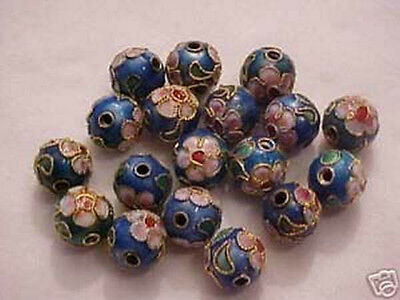 50 Blue 10mm filigree Cloisonne Beads.  CM5