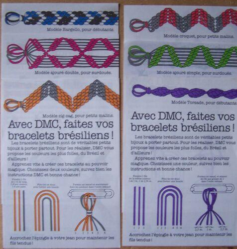 § lot 6 fiches modèles DMC création bracelets brésiliens