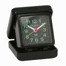 Small Portable Folding Quartz Travel Alarm Clock Desk Top Black Night Time Cheap