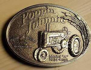 John Deere Model A Poppin Johnny Bright Gold Finish  Metal  Belt Buckle  New
