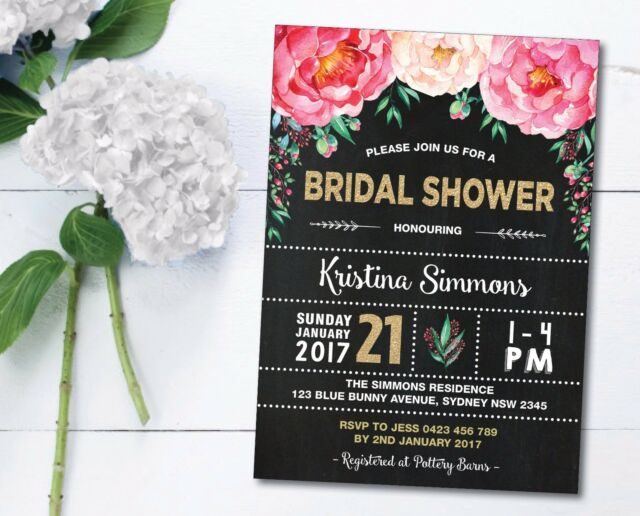 Floral Bridal Shower Invitation Hens Night Bachelorette Party Invite High Tea