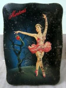 Vintage-Dancing-Lady-Morton-039-s-Toffee-Ad-Unique-Shape-Litho-Tin-Box-ADV-EHS