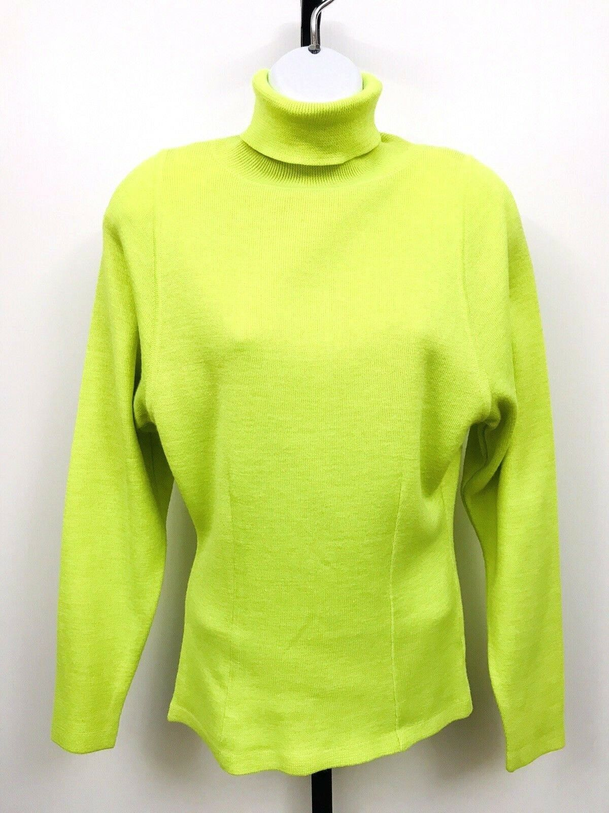 Vtg 80's Womens Ski Sweater Tyrolia by Head NEON Shoulder Pads Retro Ski Party S