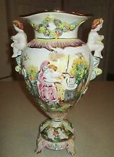 Large Beautiful Italian Capodimonte Cherub Urn / Vase