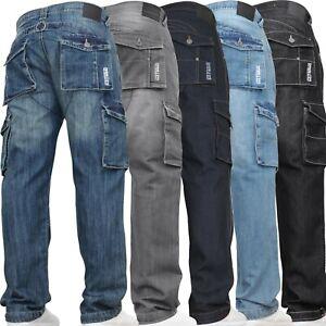 Mens-Cargo-Combat-Jeans-Casual-Work-Denim-Pants-Trousers-DENIM-amp-DYE