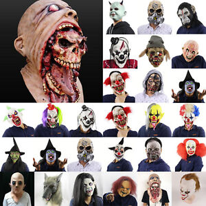 Latex-Adulte-Zombie-Sanglant-Clown-Horreur-Integral-Masque-Deguisement-Fete-Prop