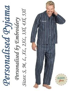 aae400a7d811bc Image is loading PERSONALISED-Mens-Gents-100-Brushed-Cotton-Pyjama-Pajama-