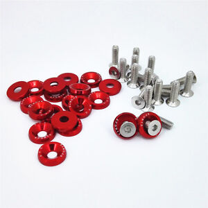 Keenso 20 Pcs Aluminum Bumper Fender Washer Bumper Washer Bolt Engine Bay Dress Up Kit Red