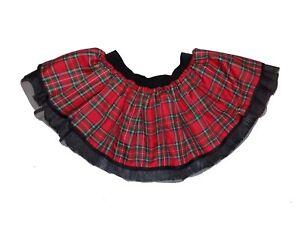 5b51094487 TUTU Red Tartan Kilt Punk Gothic Skirt Children 80s Fancy Dress ...
