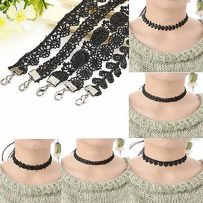 Women's Black Lace FLOWER choker Collar necklace BLACK GOTHIC PUNK Jewelry Gift