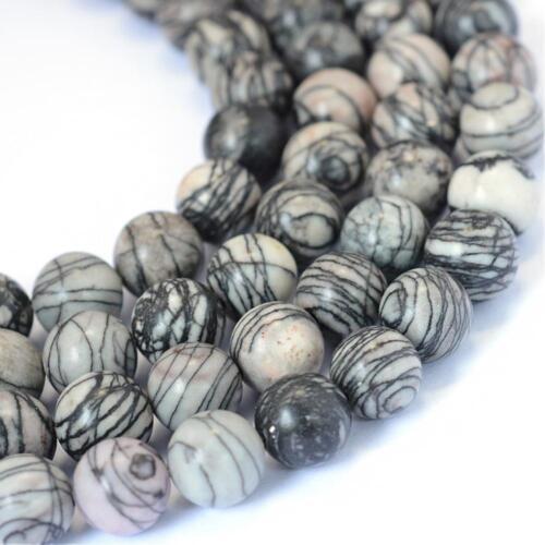 Piedra Natural Seda Negro//Netstone 6mm granos flojos Redondos