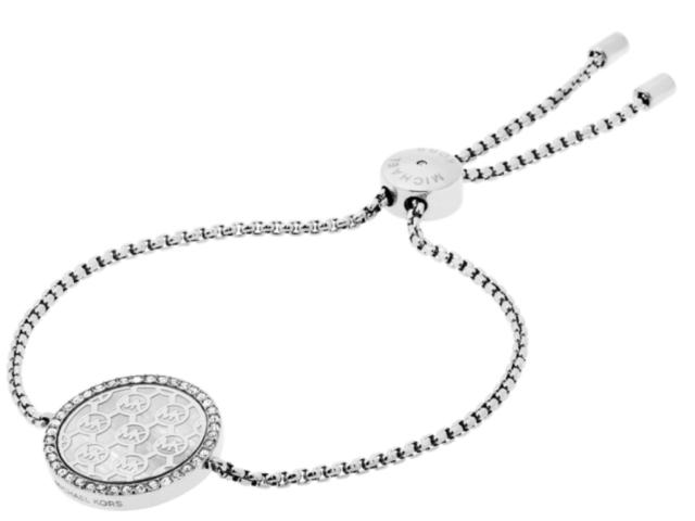 NEW MICHAEL KORS Silver Tone Monogram Pave Crystal Slider Bracelet MKJ5362040