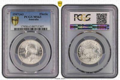 1947(m) Australia Florin Bu Pcgs Ms63 Old High Grade Coin