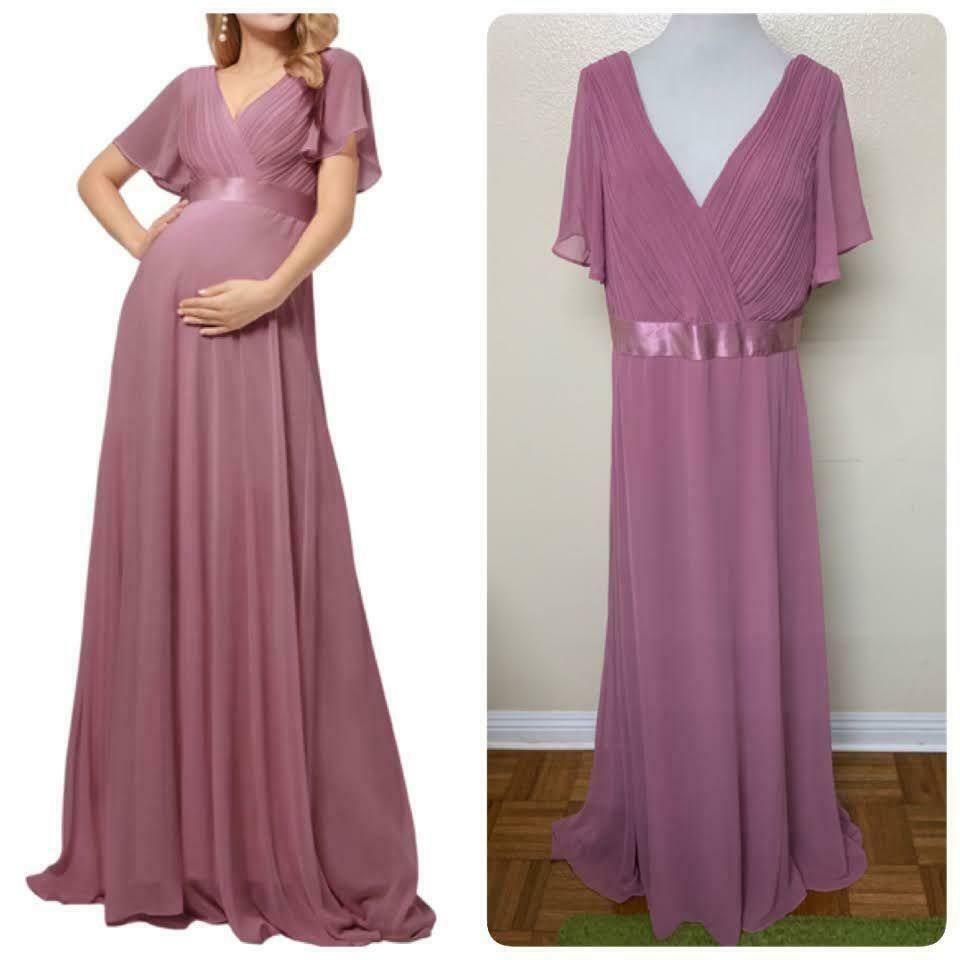 Ever-Pretty V-Neck Flutter Sleeve Chiffon Evening Maternity Gown Size 16 Orchid