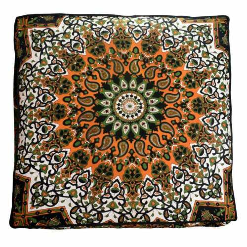 """Indian Mandala Floor Cushion Cover 35/"""" Square Ottoman Pillow Case Pouf Dog Bed"""