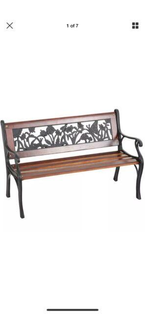 Groovy Garden Treasures 15 8 W X 20 2 In L Brown Black Wrought Iron Childrens Bench Spiritservingveterans Wood Chair Design Ideas Spiritservingveteransorg