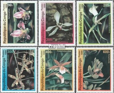 Congo Never Hinged 1999 Orchids Matching In Colour 1663-1668 Unmounted Mint brazzaville